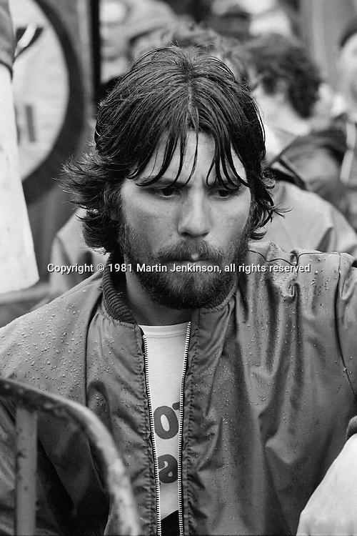John Walker marcher. 1981 People's  March for Jobs. Luton 25/05/1981.
