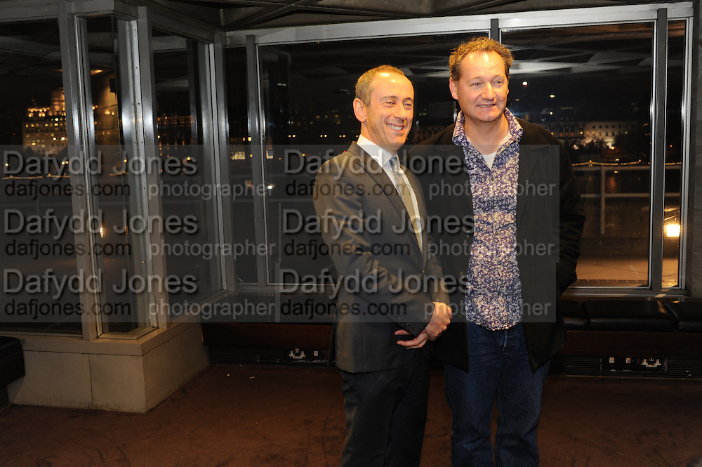 NICHOLAS HYTNER; RICHARD BEAN, Opening party to celebratethe adelphi Theatre  West End transfer of National Theatre's One Man, Two Guvnors. National Theatre. South Bank. London. 21 November 2011.  *** Local Caption *** -DO NOT ARCHIVE-© Copyright Photograph by Dafydd Jones. 248 Clapham Rd. London SW9 0PZ. Tel 0207 820 0771. www.dafjones.com.<br /> NICHOLAS HYTNER; RICHARD BEAN, Opening party to celebratethe adelphi Theatre  West End transfer of National Theatre's One Man, Two Guvnors. National Theatre. South Bank. London. 21 November 2011.