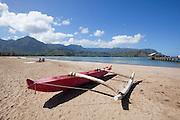 Outrigger canoe, Hanalei Bay, Kauai, Hawaii