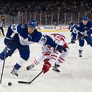 January 01, 2017:  Toronto Maple Leafs center Auston Matthews (34) makes a move o Detroit Red Wings defenseman Danny DeKeyser (65) during the 2017 Scotiabank NHL Centennial Classic between The Toronto Maple Leafs and The Detroit Red Wings at Exhibition Stadium in Toronto, Ontario, Canada. The Toronto Maple Leafs defeat The Detroit Red Wings 5-4 in overtime. Mandatory credit: Kostas Lymperopoulos/CSM (Credit Image: © Kostas Lymperopoulos/Cal Sport Media)