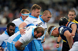 Kevin Bryce and the rest of the Glasgow Warriors forwards pack down for a scrum - Photo mandatory by-line: Patrick Khachfe/JMP - Mobile: 07966 386802 30/08/2014 - SPORT - RUGBY UNION - London - Richmond Athletic Ground - London Scottish v Glasgow Warriors - Pre-Season Friendly