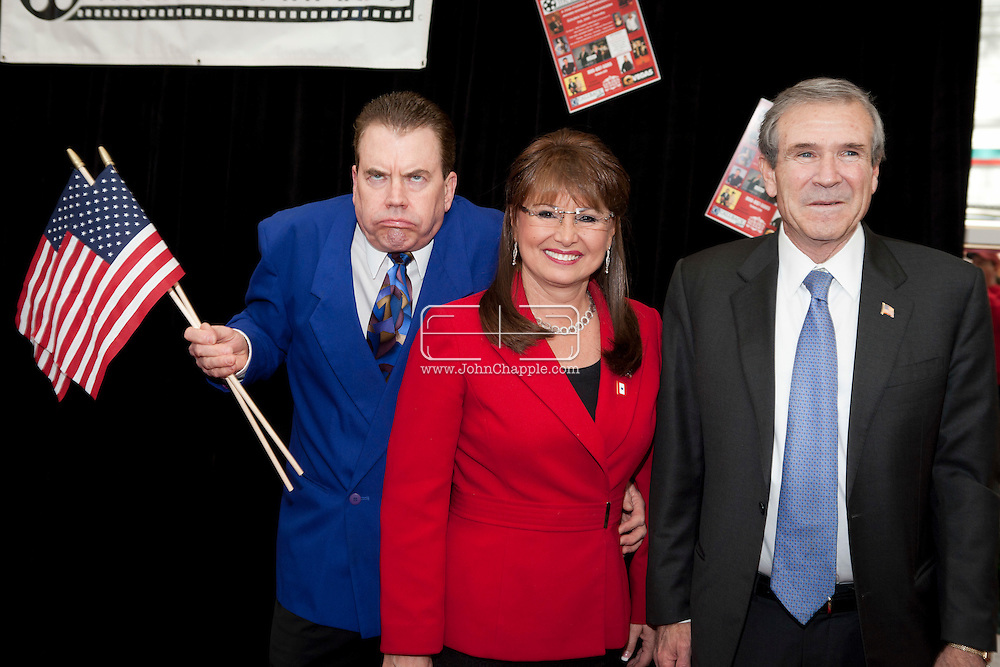 24th February 2011. Las Vegas, Nevada.  Celebrity Impersonators from around the globe were in Las Vegas for the 20th Annual Reel Awards Show. Pictured is Darrell A. Duffey as US President Nixon, Debbie Cavalier as Sarah Palin and Brent Mendenhall as George W. Bush. Photo © John Chapple / www.johnchapple.com..