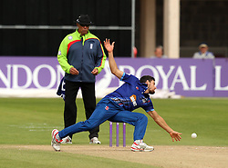 Gloucestershire's Benny Howell tries to stop the ball off his own bowling - Mandatory by-line: Robbie Stephenson/JMP - 07966386802 - 04/08/2015 - SPORT - CRICKET - Bristol,England - County Ground - Gloucestershire v Durham - Royal London One-Day Cup