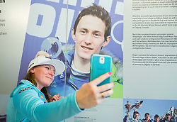 Marusa Ferk and picture of Peter Prevc during official presentation of the outfits of the Slovenian Ski Teams before new season 2016/17, on October 18, 2016 in Planica, Slovenia. Photo by Vid Ponikvar / Sportida