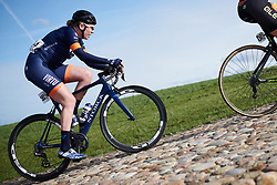 Mieke Kröger (GER) attacks the VAMberg cobbles at Drentse 8 van Westerveld 2019, a 145 km road race starting and finishing in Dwingeloo, Netherlands on March 15, 2019. Photo by Sean Robinson/velofocus.com