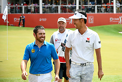 October 13, 2018 - Kuala Lumpur, Malaysia - Louis Oosthuizen(L) of South Africa, Kevin Na(R) of United States pictured during the third round of the CIMB Classic at TPC Kuala Lumpur on 13 October, 2018 in Kuala Lumpur, Malaysia  (Credit Image: © Chris Jung/NurPhoto via ZUMA Press)