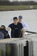 Eton, GREAT BRITAIN,  Tom BROADWAY (bow), and Greg SEARLE (stroke), M2-, prepare for the Start, GB Trials 3rd Winter assessment at,  Eton Rowing Centre, venue for the 2012 Olympic Rowing Regatta, Trials cut short due to weather conditions forecast for the second day Sunday  13/02/2011   [Photo, Karon Phillips/Intersport-images]