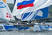 Gazprom Team Russia practice racing on practice day for the Cardiff Extreme Sailing Series Regatta. 21/8/2014