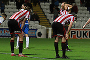 CTFC react to the final whistle during the The FA Cup match between Hartlepool United and Cheltenham Town at Victoria Park, Hartlepool, England on 7 November 2015. Photo by Antony Thompson.