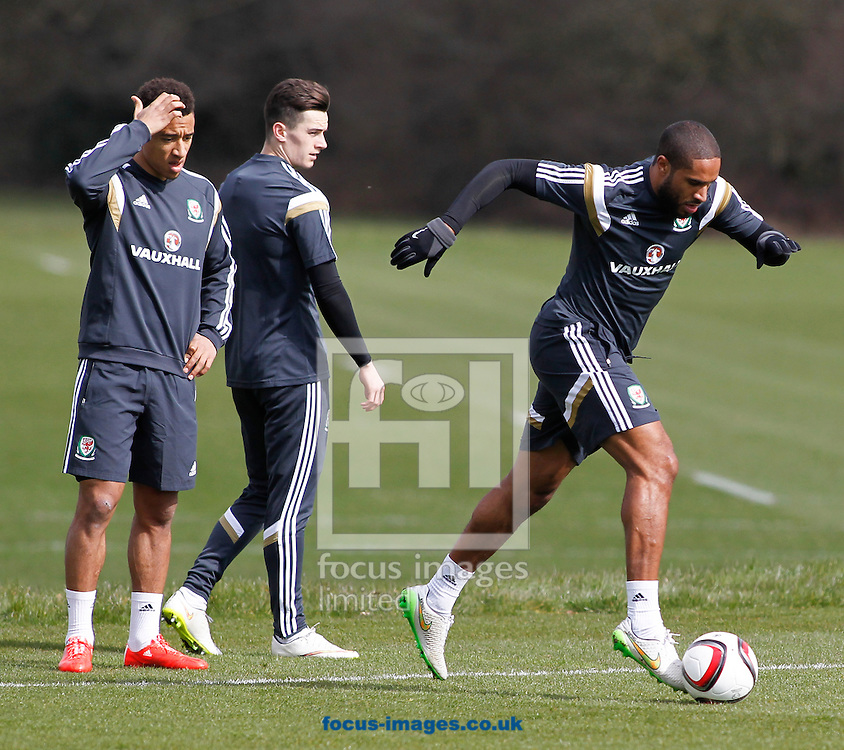Ashley Williams of Wales Training at the Vale Resort, Hensol<br /> Picture by Mike Griffiths/Focus Images Ltd +44 7766 223933<br /> 25/03/2015