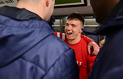 Bristol Bears celebrate at full time in the dressing room. - Mandatory by-line: Alex James/JMP - 13/04/2019 - RUGBY - Ashton Gate Stadium - Bristol, England - Bristol Bears v Saracens - Gallagher Premiership Rugby