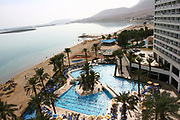A tourist beach and resort hotel on the shore of the Dead Sea, Israel