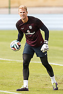 Joe Hart of England during the England training session at Est&aacute;dio Claudio Coutinho, Rio de Janeiro, Brazil<br /> Picture by Andrew Tobin/Focus Images Ltd +44 7710 761829<br /> 21/06/2014