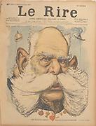 Franz-Joseph I (1830-1916), Emperor of Austria from 1848. Cartoon from 'Le Rire', Paris, 9 October 1897.