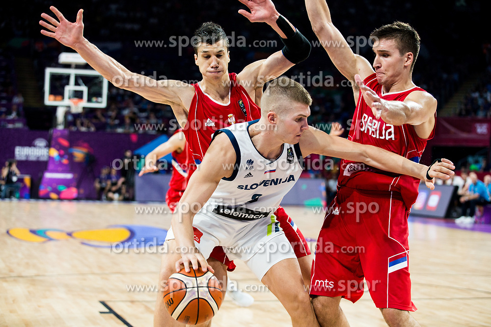 Edo Muric of Slovenia vs Vladimir Lucic of Serbia and Bogdan Bogdanovic of Serbia during the Final basketball match between National Teams  Slovenia and Serbia at Day 18 of the FIBA EuroBasket 2017 at Sinan Erdem Dome in Istanbul, Turkey on September 17, 2017. Photo by Vid Ponikvar / Sportida