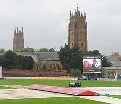 General view of the churches of St Mary's and St James's during a delayed start at the County Ground, Taunton - Mandatory byline: Alex Davidson/JMP - 07966386802 - 24/08/2015 - Cricket - County Ground -Taunton,England - Somerset CCC v Worcestershire CCC - LV= County Championship Division One - Day 4