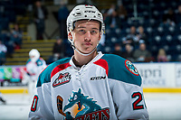 KELOWNA, CANADA - APRIL 14: Conner Bruggen-Cate #20 of the Kelowna Rockets warms up against the Portland Winterhawks on April 14, 2017 at Prospera Place in Kelowna, British Columbia, Canada.  (Photo by Marissa Baecker/Shoot the Breeze)  *** Local Caption ***