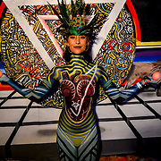 """Los Visionaries"" Bodypainting by Rick Uribeartwork at Day Two the Neon Desert Music Festival, May 28, 2017 El Paso Texas"
