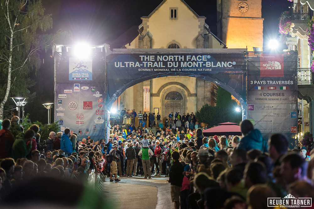 Crowds gather to watch the start of the UTMB PTL (La Petite Trotte a Leon) Race. The PTL starts and ends in Chamonix, and takes runners on a 300km tour of the Alps, with over 24,000 meters of ascent. It must be completed by the teams of 2 or 3 runners within 138hours.