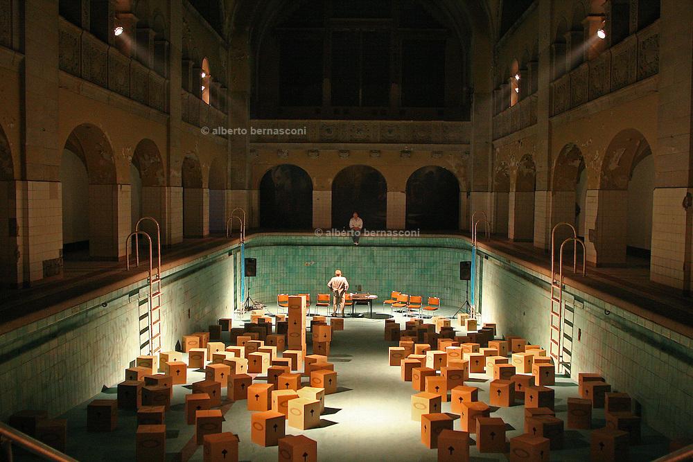 Berlin,  Kreuzberg. an old public swimmingpool transformed in a theatre