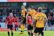 David Pipe of Newport County wins a header during the EFL Sky Bet League 2 match between Morecambe and Newport County at the Globe Arena, Morecambe, England on 16 September 2017. Photo by Mick Haynes.