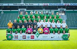 """27.07.2012, Weserstadion, Bremen, GER, 1. FBL, SV Werder Bremen, Fototermin, im Bild untere Reihe von links Aleksandar Ignjovski (Bremen #17), Eljero Elia (SV Werder Bremen #11), Predrag Stevanovic (Bremen #31), Philipp Bargfrede (Bremen #44), Christian Vander (Bremen #33), Raphael Wolf (SV Werder Bremen #20), Sebastian Mielitz (SV Werder Bremen #1), Richard Strebinger (SV Werder Bremen #30), Zlatko Junuzovic (Bremen #16), Aleksandar Stevanovic (Bremen #34), Özkan / Oezkan Yildirim (Bremen #32) und Clemens Fritz (SV Werder Bremen #8), zweite Reihe von unten von links Klaus Allofs (Geschaeftsfuehrer Werder Bremen), Thomas Schaaf (Trainer Werder Bremen), Matthias Hönerbach / Hoenerbach (Co-Trainer Werder Bremen), Wolfgang Rolff (Co-Trainer Werder Bremen), Michael Kraft (Torwart-Trainer Werder Bremen), Richard Schnittker (Athletiktrainer SV Werder Bremen), Uwe Behrens.(Zeugwart Werder Bremen), Jürgen Tölle.(Physiotherapeut Werder Bremen), Sven Plagge (Physiotherapeut Werder Bremen), Fritz Munder.(Zeugwart Werder Bremen), Dr. Götz Dimanski (Mannschaftsarzt und Leiter des """"Sporthep Werder""""), dritte Reihe von unten von links Theodor Gebre Selassie (Bremen #23), Mehmet Ekici (SV Werder Bremen #10), Felix Kroos (Bremen #18), Florian Trinks (Bremen #35), Aaron Hunt (Bremen #14), Johannes Wurtz (SV Werder Bremen #27), Lukas Schmitz (Bremen #13), Tom Trybull (Bremen #25) und Sokratis Papastathopoulos (Bremen #22), obere Reihe von links Nils Petersen (Bremen #24), Niclas Fuellkrug /Füllkrug (Bremen #41), Marko Arnautovic (SV Werder Bremen #7), Sebastian Prödl / Proedl (Bremen #15), Denni Avdic (SV Werder Bremen #9), Assani Lukimya (Bremen #5), Florian Hartherz (Bremen #26) und Cimo Röcker / Roecker (SV Werder Bremen #29) // during the official Team Photo Call of the German Bundesliga Club SV Werder Bremen at the Weserstadion, Bremen, Germany on 2012/07/27. EXPA Pictures © 2012, PhotoCredit: EXPA/ Andreas Gumz **** ATTENTION ***** OUT of GERMANY"""