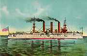 US Navy armoured battle cruiser 'Brooklyn' en-route to the Philippines during the Spanish-American war of 1898.