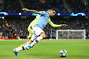 Manchester City defender Joao Cancelo (27) during the Champions League match between Manchester City and Dinamo Zagreb at the Etihad Stadium, Manchester, England on 1 October 2019.