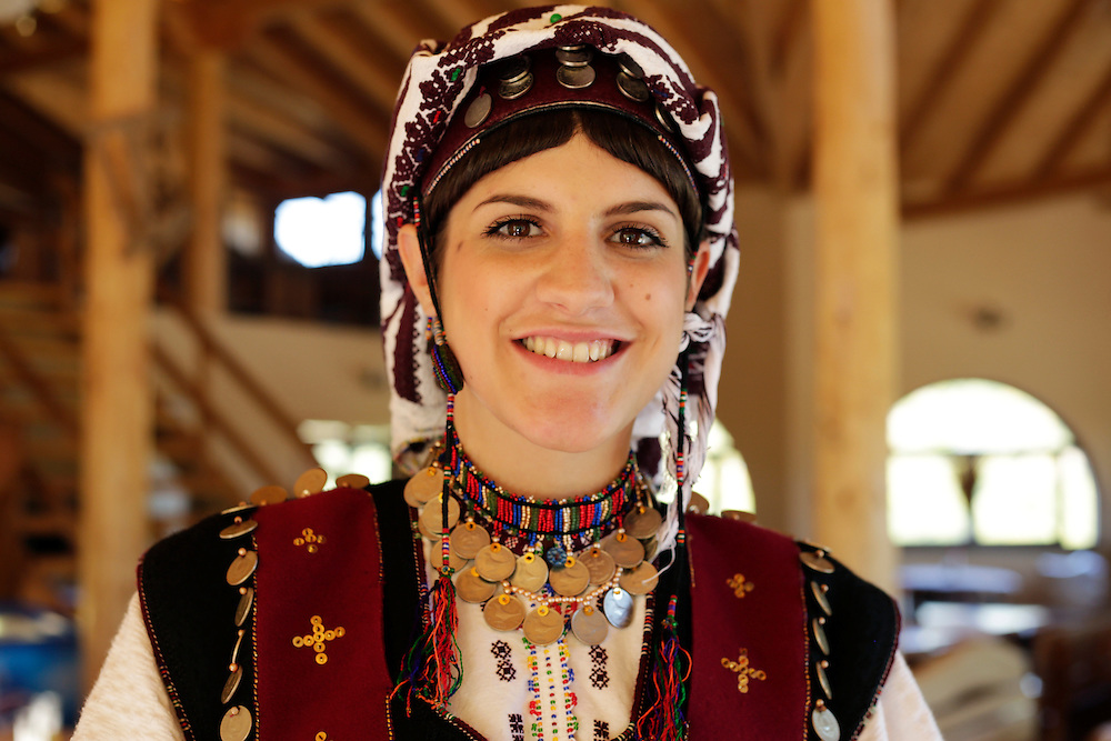 Traditional women's folcloric dress, near the<br /> Vrabas River and Vranica mountain, Bosnia and Herzegovina.
