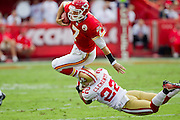 KANSAS CITY, MO - SEPTEMBER 26:   Matt Cassel #7 of the Kansas City Chiefs is tackled by Nate Clements #22 of the San Francisco 49ers at Arrowhead Stadium on September 26, 2010 in Kansas City, Missouri.  The Chiefs defeated the 49ers 31-10.  (Photo by Wesley Hitt/Getty Images) *** Local Caption *** Matt Cassel; Nate Clements