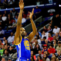 Oct 28, 2016; New Orleans, LA, USA;  Golden State Warriors forward Kevin Durant (35) shoots against the New Orleans Pelicans during the first quarter of a game at the Smoothie King Center. Mandatory Credit: Derick E. Hingle-USA TODAY Sports