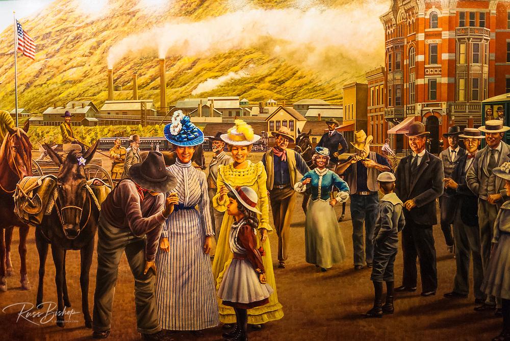 Mural depicting an early western scene, Durango, Colorado USA