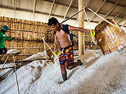 28 MARCH 2018 - BAN LAEM, PHETCHABURI, THAILAND: A worker empties his baskets of salt in a warehouse during the 2018 salt harvest in Petchaburi province, about two hours south of Bangkok. Sea salt is made in provinces south of Bangkok by flooding fields with ocean water after the rainy season. As the fields dry out from evaporation, workers go into the fields and gather the salt left behind.         PHOTO BY JACK KURTZ