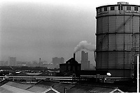 Industrial urban cityscapes in Aston Area of Birmingham in 1970s.
