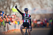 SHOT 1/12/14 4:42:54 PM - Jeremy Powers (#3) of Easthampton, Ma. celebrates as he crosses the finish line in the Men's Elite race at the 2014 USA Cycling Cyclo-Cross National Championships at Valmont Bike Park in Boulder, Co. Powers won the event with a time of 59:16.  (Photo by Marc Piscotty / © 2014)