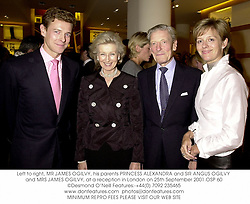 Left to right, MR JAMES OGILVY, his parents PRINCESS ALEXANDRA and SIR ANGUS OGILVY and MRS JAMES OGILVY, at a reception in London on 25th September 2001.OSP 60