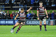 A heavily strapped Duncan Weir takes penalty for Edinburgh during the Guinness Pro 14 2017_18 match between Edinburgh Rugby and Dragons Rugby at Myreside Stadium, Edinburgh, Scotland on 8 September 2017. Photo by Kevin Murray.