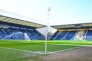 A general view of the stadium and corner flag before the EFL Sky Bet Championship match between Preston North End and Leeds United at Deepdale, Preston, England on 9 April 2019.