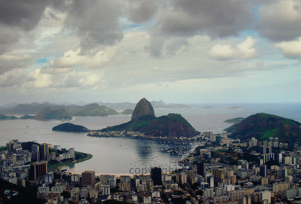 The city of Rio de Janiero showing Sugar Loaf Mountain, Brazil
