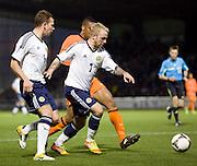 Scotland's Johnathon Russell goes past Holland's Leroy Fer - Scotland v Holland - UEFA U21 European Championship qualifier at St Mirren Park..© David Young - .5 Foundry Place - .Monifieth - .Angus - .DD5 4BB - .Tel: 07765 252616 - .email: davidyoungphoto@gmail.com.web: www.davidyoungphoto.co.uk