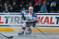 KELOWNA, CANADA - JANUARY 7: Calvin Thurkauf #27 of the Kelowna Rockets skates with the puck against the Kamloops Blazers on January 7, 2017 at Prospera Place in Kelowna, British Columbia, Canada.  (Photo by Marissa Baecker/Shoot the Breeze)  *** Local Caption ***