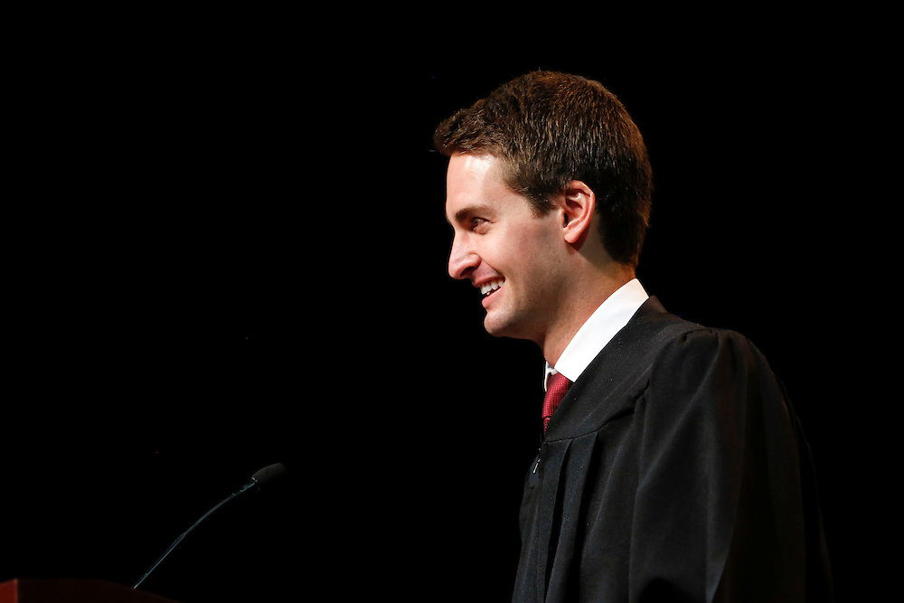 Snapchat co-founder and CEO Evan Spiegel smiles while speaking during his commencement address to the USC Marshall School of Business at the Galen Center on Friday, May 15, 2015 at the University of Southern California (USC) in Los Angeles, Calif. © 2015 Patrick T. Fallon