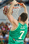 Nick Kay #7 of Australia dunks during the Australia v Philippines, 1st Round, Group B, Asian Qualifier at the Margaret Court Arena, Melbourne, Australia on 22 February 2018. Picture by Martin Keep.