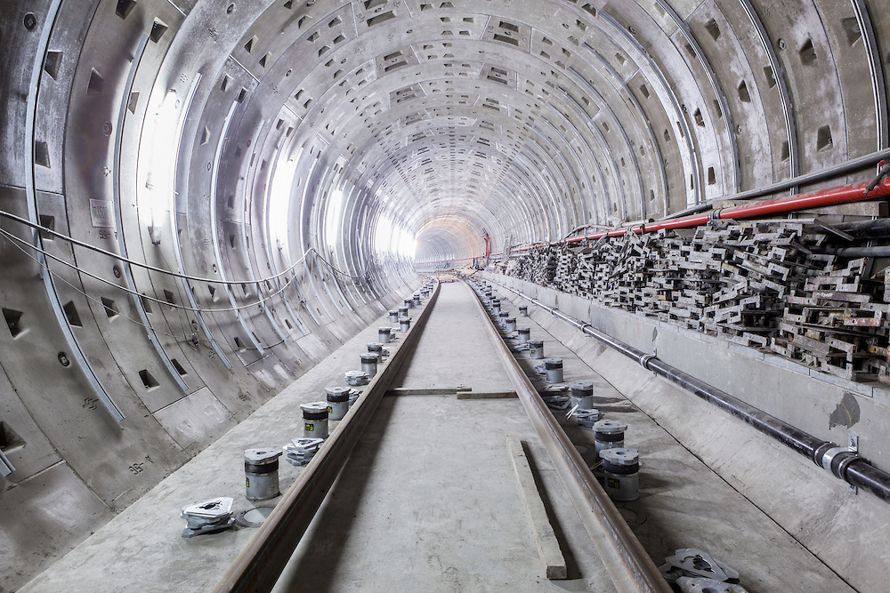 A partially completed tunnel on Taipei's expanding MRT system. In February 2012, the system saw its 5 billionth passenger.