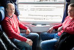 Nik Zupancic, head coach and Edo Terglav during departure to Budapest of Slovenian Ice Hockey National Team, on April 17, 2017 in Railway station, Ljubljana, Slovenia. Photo by Vid Ponikvar / Sportida