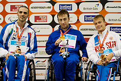 BONI Vincenzo, VYNOHRADETS Dmytro, MAKAROV Alexander ITA, UKR, RUS at 2015 IPC Swimming World Championships -  Men's 50m Backstroke S3