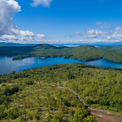 Drone view of Birch Ridge (foreground) and Merrymeeting Lake in New Durham, New Hampshire.