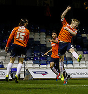 Luke Rooney of Luton Town (left) celebrates scoring the opening goal against Bury with Mark Cullen of Luton Town (right) during the The FA Cup match at Kenilworth Road, Luton<br /> Picture by David Horn/Focus Images Ltd +44 7545 970036<br /> 16/12/2014