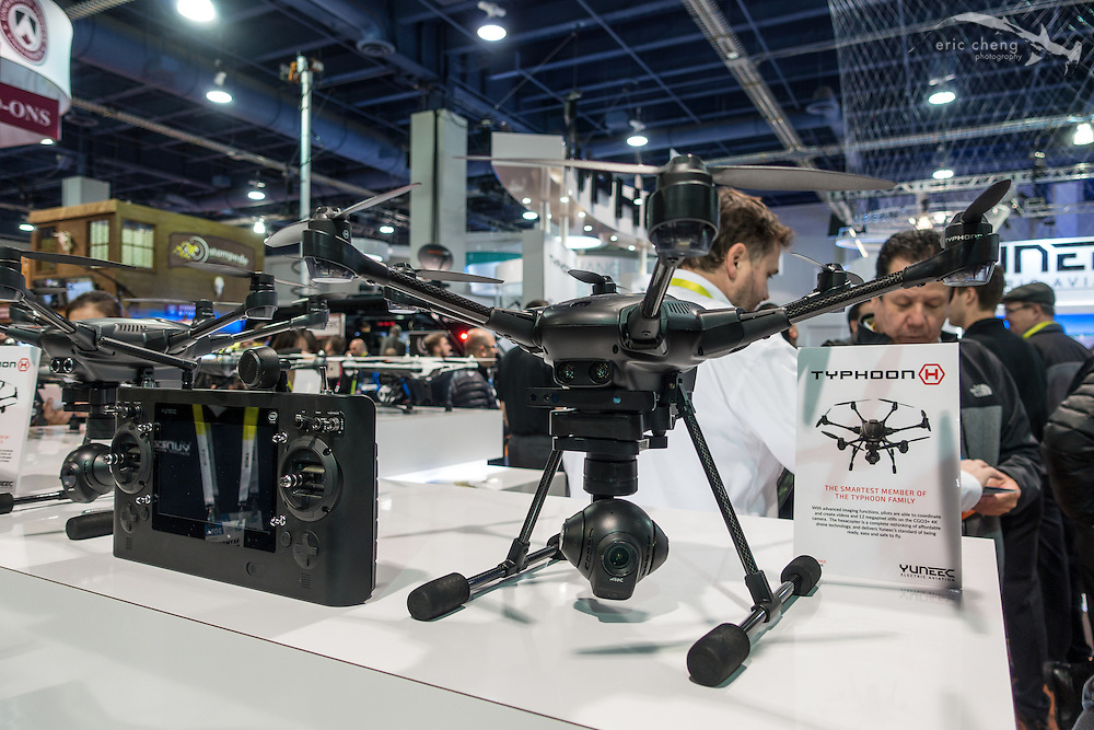 The darling drone of the show this year was the Yuneec Typhoon H, which was demoed with Intel RealSense integration for obstacle avoidance. CES 2016, Las Vegas.