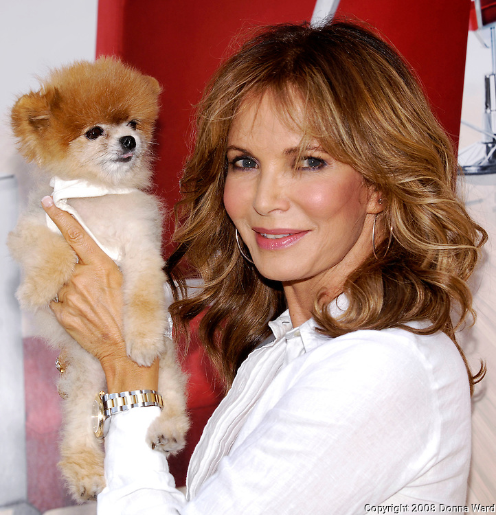 Show host Jaclyn Smith poses at the Bravo 'Shear Genius' Times Square Salon on the Military Island in Times Square in New York City, USA on June 24, 2008.